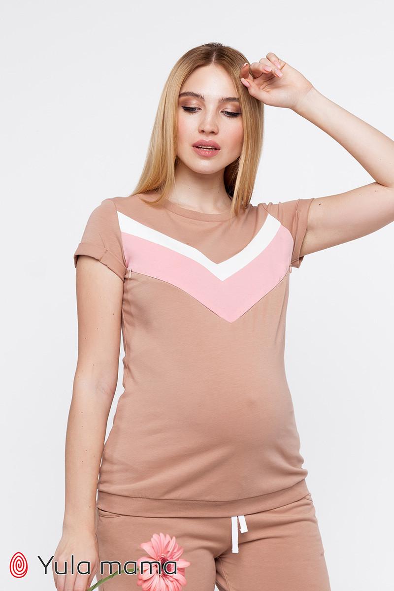 Трикотажная футболка для беременных и кормящих мам KARO NR-20.102