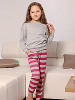 Трикотажная детская пижама. Детская одежда для дома. Пижама для девочки. Розовая пижама