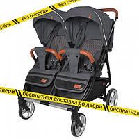 Детская  прогулочная коляска для двойни ,близнецов CARRELLO Connect CRL-5502 Serious Black