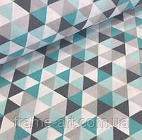 """Хлопковая ткань (бязь) 160см """"Треугольники бирюзовые, серые, белые"""""""