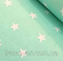"""Хлопковая ткань (бязь) 160см №311 """"Белые звезды"""" на мятном"""
