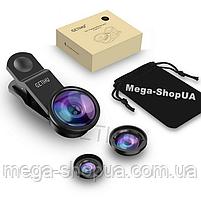 Набор объективов для телефона 3в1 макро линза, рыбий глаз, широкоугольная. Набір об'єктивів для смартфона S3B
