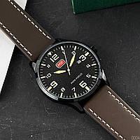 Годинники наручні кварцові чоловічі Mini Focus Чорні з коричневим ремінцем