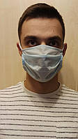 Одноразовая двухслойная маска для лица, голубая, защитный слой мелтблаун