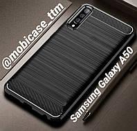 Чехол Ipaky Carbon для телефона Samsung Galaxy A50 SM-А505F защита на самсунг гелекси А50 бампер протиударный
