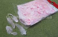 Перо натуральное, розовое,  в упаковке