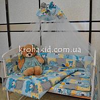 Набор детскогопостельного белья в кроватку мишки с шариками / Бортики в кроватку / Защита в манеж