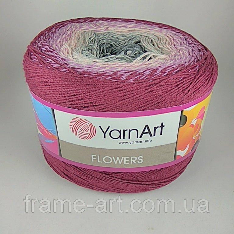 Купить Ярнарт Фловерс 250г/1000м 286 розово-серый