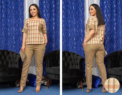 """Элегантный женский брючный костюм в батальных размерах 6472-1 """"Креп Комби Клетка"""" в расцветках"""