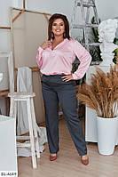 Женский костюм большого размера шёлковая блуза однотонная и брюки. Размер: 50, 52, 54, 56, 58, 60.