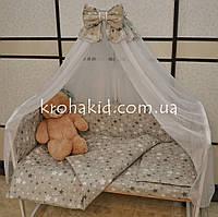 Набор детского постельного белья в кроватку звездочки на сером / Бортики в кроватку / Защита в манеж