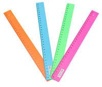 Линейка школьная 15см пластиковая, цветная 23875-6