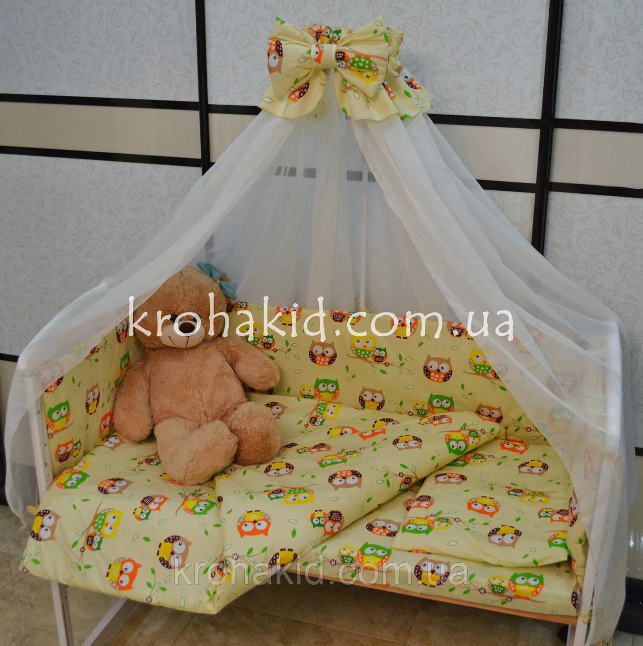 Набор детского постельного белья в кроватку совушки мелкие бежевый / Бортики в кроватку / Защита в манеж