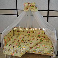 Набор детского постельного белья в кроватку совушки мелкие бежевый / Бортики в кроватку / Защита в манеж, фото 2