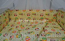 Набор детского постельного белья в кроватку совушки мелкие бежевый / Бортики в кроватку / Защита в манеж, фото 3