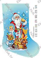 """Схема для частичной вышивки бисером новогодний сапожок """"Дед Мороз и Снегурочка3"""""""
