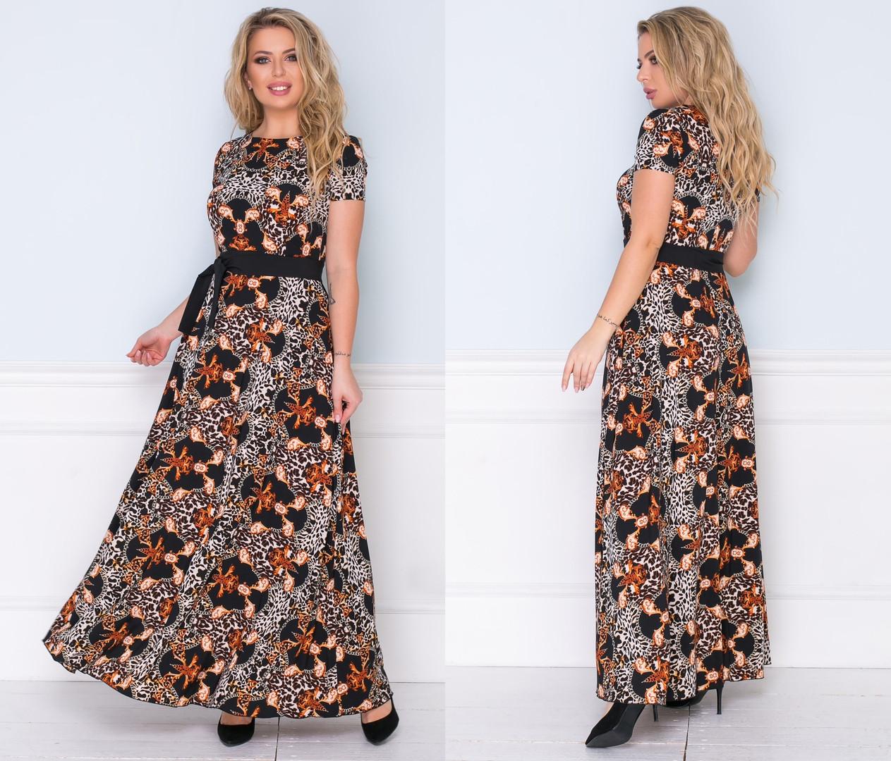 """Нарядное длинное платье в больших размерах 1216 """"Софт Принт Макси Пояс Контраст"""""""