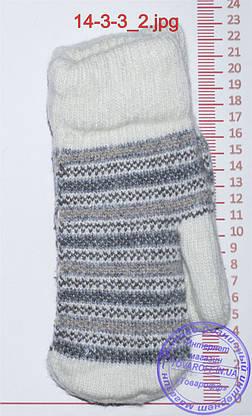 Оптом унисекс варежки вязаные двойные - разные цвета - 14-3-3, фото 3