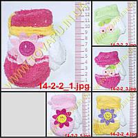 Оптом варежки детские махровые для девочек - разные цвета - 14-2-2, фото 1
