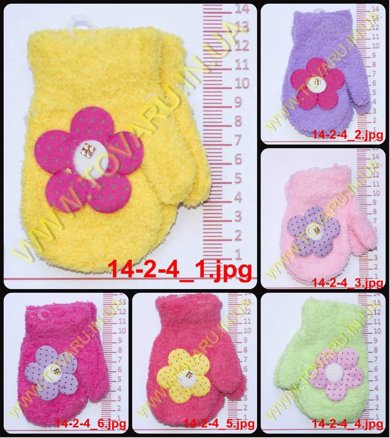 Оптом варежки детские махровые для девочек - разные цвета - 14-2-4, фото 2