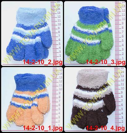 Оптом перчатки детские махровые для мальчиков - разные цвета - 14-2-10, фото 2