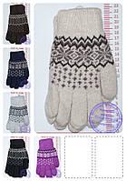 Оптом перчатки вязаные шерстяные двойные с орнаментом - разные цвета - 14-5-13