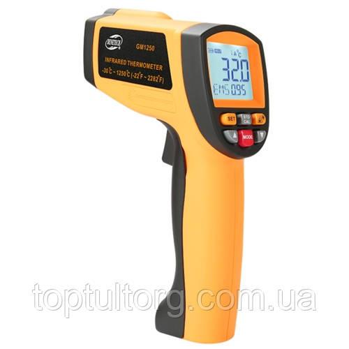 Бесконтактный инфракрасный термометр (пирометр)  -30-1250°C, 20:1, EMS=0,1-1  BENETECH GM1250