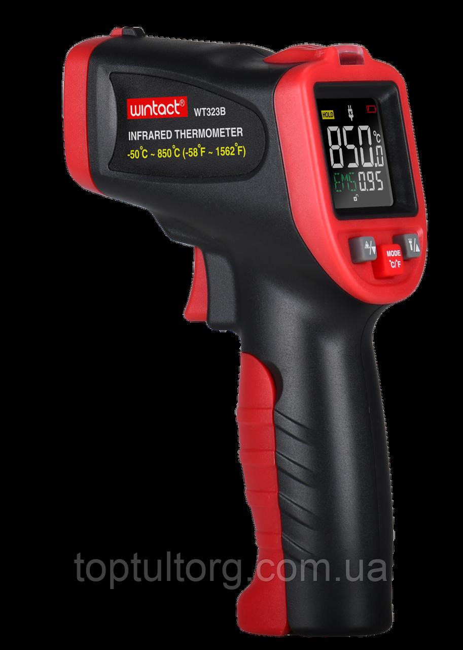 Бесконтактный инфракрасный термометр (пирометр) цв дисплей, термопара -50-850°C, 12:1, EMS=0,1-1  WINTACT