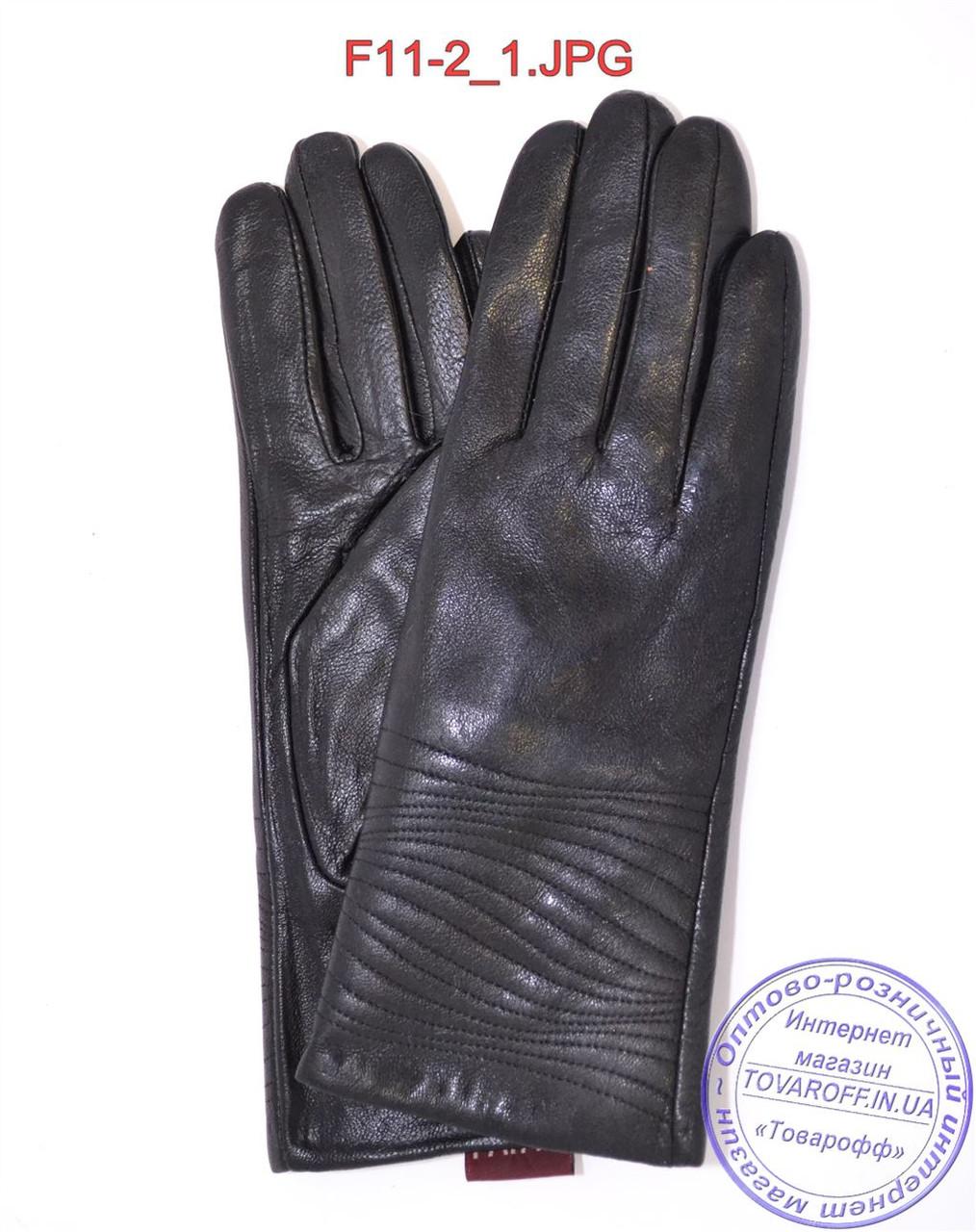 Женские кожаные зимние перчатки на меху кролика (мех искусственный) - F11-2