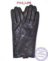 Оптом женские кожаные зимние перчатки на меху кролика (мех искусственный) - F11-2, фото 1