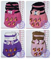 Оптом варежки детские вязаные двойные - разные цвета - 14-7-8