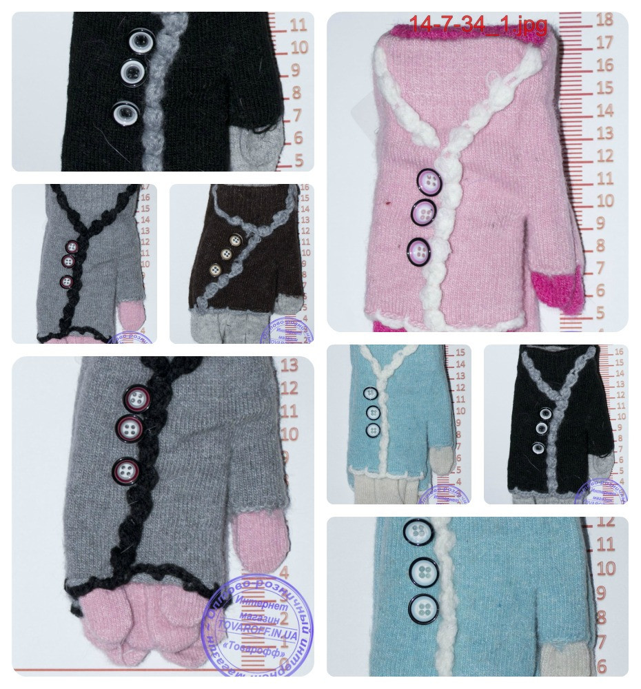 Оптом перчатки подростковые для девочек - разные цвета - 14-7-34