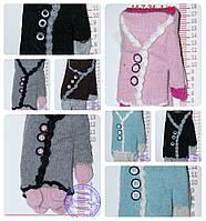 Оптом перчатки подростковые для девочек - разные цвета - 14-7-34, фото 1