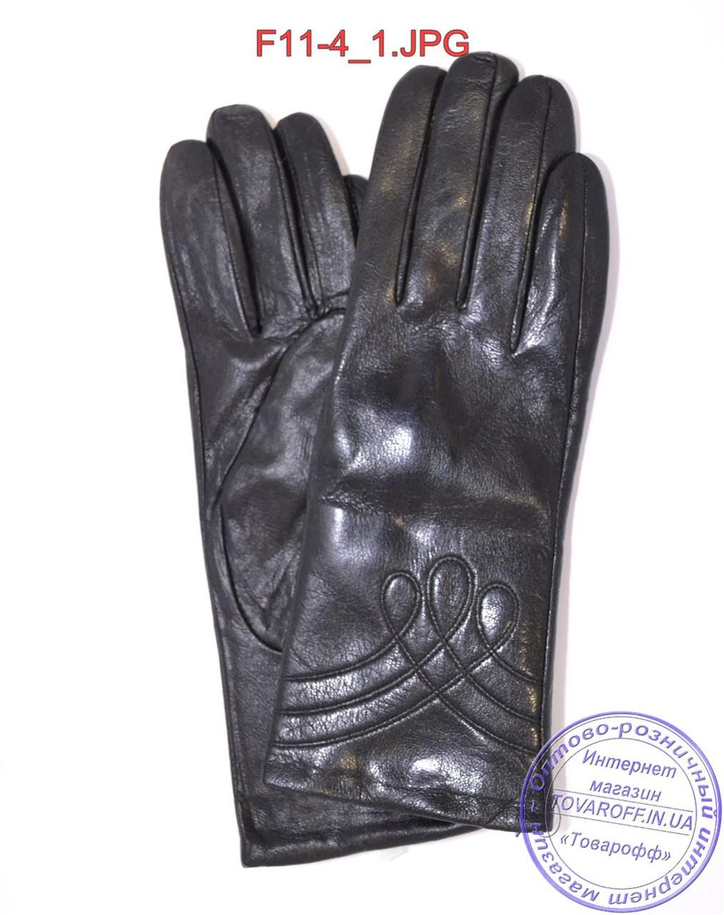 Женские кожаные зимние перчатки на меху кролика (мех искусственный) - F11-4