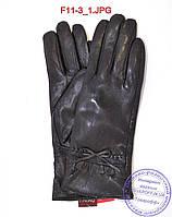 Оптом женские кожаные зимние перчатки на меху кролика (мех искусственный) - F11-3, фото 1