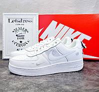 Чоловічі шкіряні кросівки Nike Air Force 1 Low White Найк Аір Форс низькі білі аір форси, фото 1