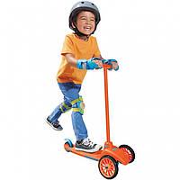 Детский Складной Трехколесный Самокат с силиконовыми колесами, оранжевый Lean to Turn Little Tikes Литтл Тайкс
