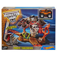 Детский Игровой набор Хот Вилс Пиратские разборки с машинкой и спусковым устройством Monster Jam Hot Wheels
