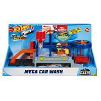 Детский Игровой Набор Хот Вилс Сити Подвижная Мега-автомойка  с водой и машинкой Измени Цвет Hot Wheels Mattel