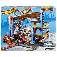 Детский Игровой Набор Хот Вилс Трек-Гараж Горячие Колеса Мега Гараж с Акулой на 90 мест Hot Wheels Mattel