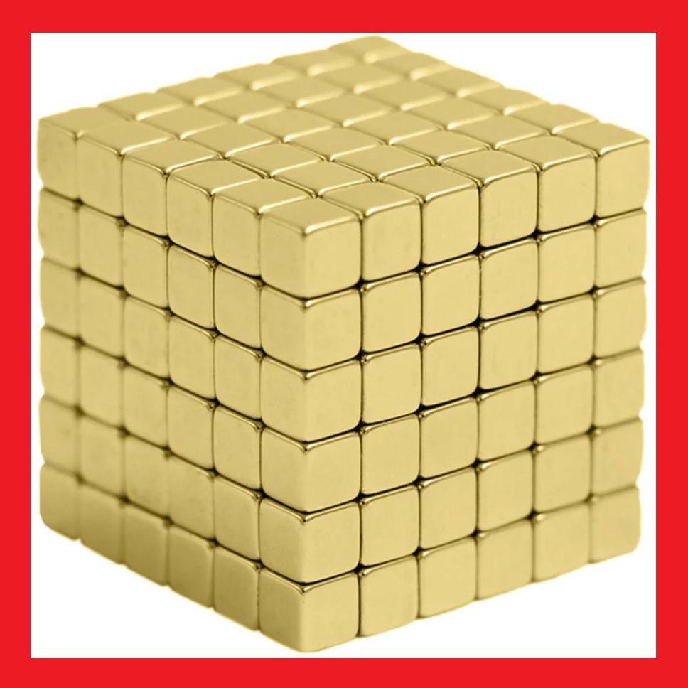 🎁 Неокуб магнитный конструктор головоломка. Квадратный Neocube 216 кубиков 5мм в металлическом боксе (Золотой) | AG470268