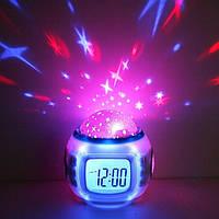 🎁 Часы с проэктором, звездное небо на потолке. Часы с будильником и проектором звездного неба 1038 | AG470271