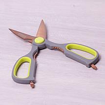 Ножницы кухонные 21.5см из нержавеющей стали с пластиковыми ручками и орехоколом 5183, фото 3