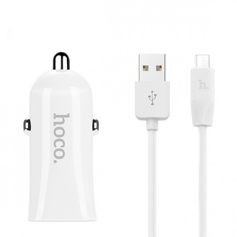 Автомобильное зарядное устройство Hoco Z12 + Micro USB Cable (2USB 2.4A) White