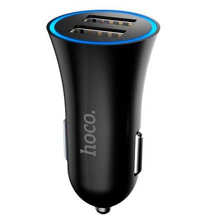 Автомобільний зарядний пристрій Hoco UC204 2.4 A 2 USB Black, фото 2
