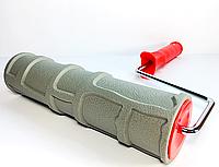 Валик с ручкой структурный резиновый дикий камень каменная кладка 250х60 мм для краски и шпаклёвки