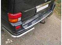 Накладка на задний бампер (Carmos, сталь) Volkswagen T4 Transporter / Накладки на задний бампер Фольксваген Т4 (Транспортер)
