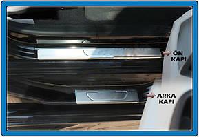 Накладки на пороги OmsaLine (4 шт, нерж) Peugeot 301 / Хром накладки Пежо 301