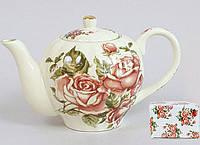 """Чайник заварочный Cream Rose """"Корейская Роза"""" 1000мл, фарфоровый"""