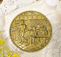 Старое латунное настенное панно, ручная работа, латунь, Англия, трактир, фото 1